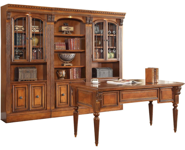 Parker House Huntington 4 Piece Library Wall With Writing Desk In Pecan