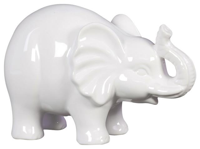 White Ceramic Elephant Figurine Contemporary