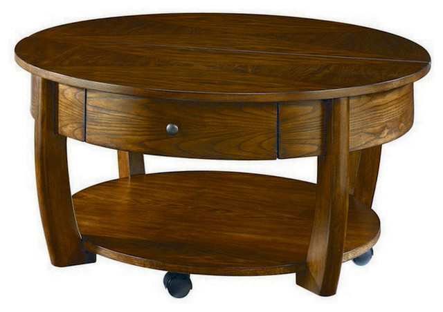 Hammary Concierge Round Cocktail Table With Casters Transitional