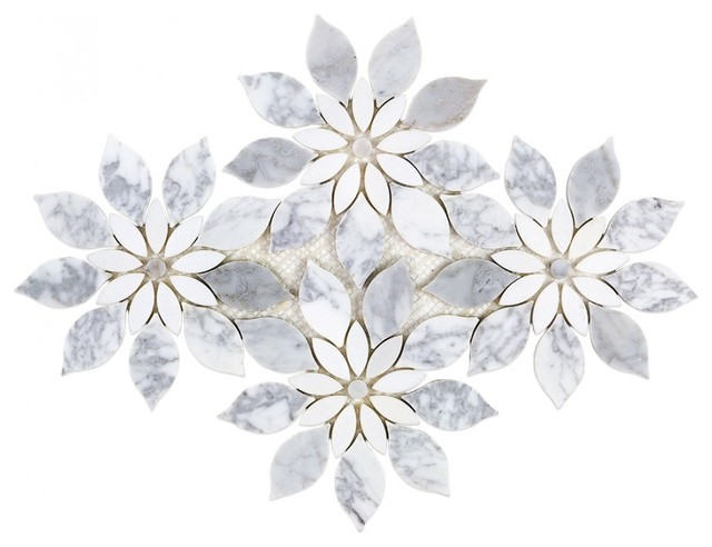 Wildflower Winds Breath Marble Tile, White/Gray