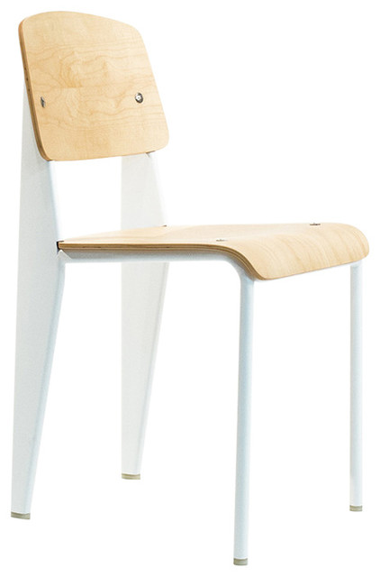 Basic Dining Chair, Maple Plywood / White Legs