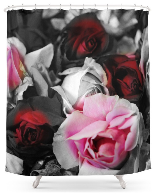 society6 black and white roses fade to pink and red shower curtain
