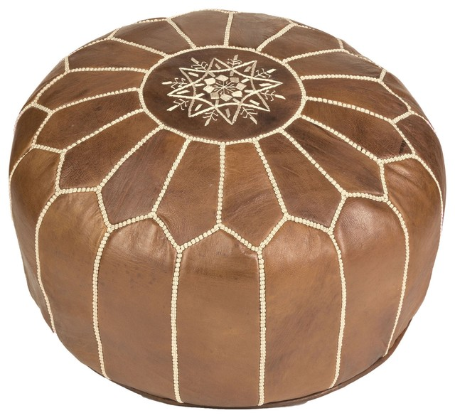 Brown Moroccan Leather Pouf Cover