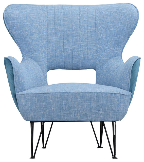 Modern Mid-Century Two-Tone Linen Fabric Accent Armchair, Blue/Blue
