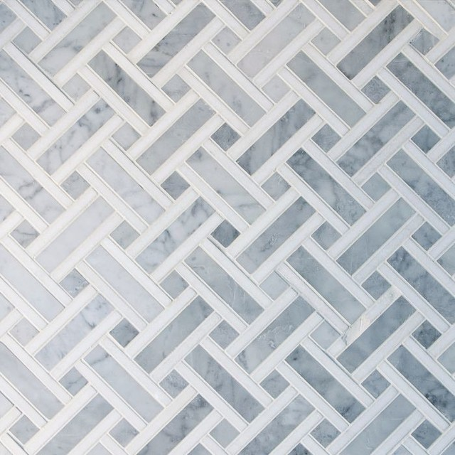 Basket Weave Carrara Marble Mosaic Tile 10 Sheets