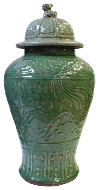 Chinese Crackle Celadon Green Fish Tall Temple Jar Asian Decorative Jars And Urns By