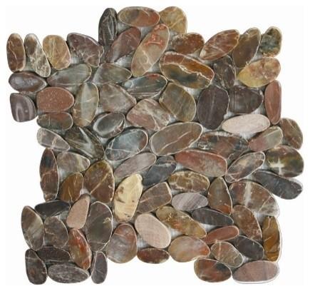 12 X12 Cherry Flat Pebble Tile Single Sheet