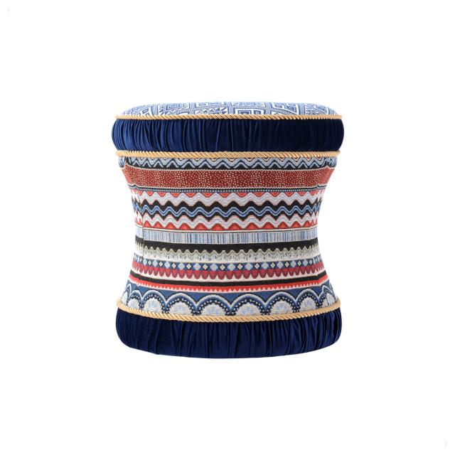Leona Hourglass Vanity Stool Ottoman, Blue Multicolored
