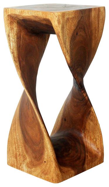 "Sustainable Monkey Pod Wood Twist Stool, Livos Walnut Oil Finish, 12""x12""x26""."