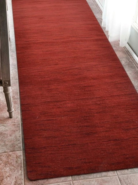 Rugsotic Carpets Hand Knotted Loom Wool 2&x27;6&x27;&x27;x10&x27; Runner Rug Solid Red L00111.