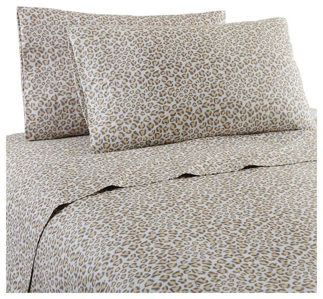 Leopard Micro Flannel Sheet Set Contemporary Sheet And