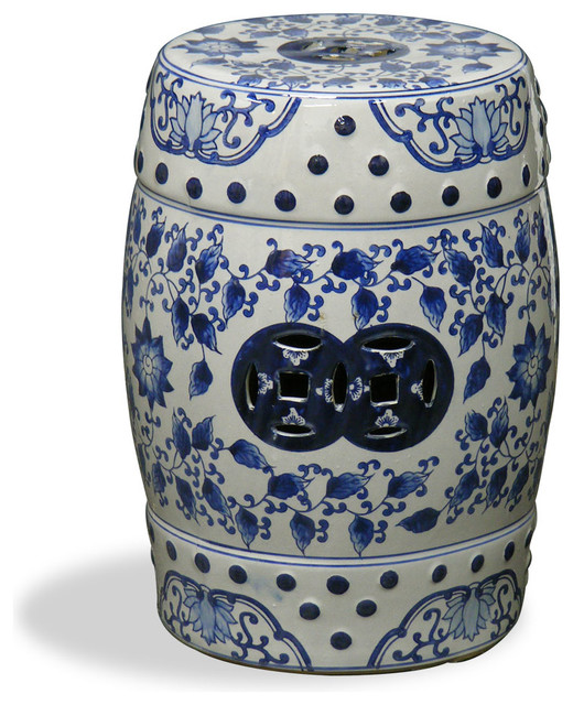 Blue and White Canton Porcelain Garden Stool Asian Accent And