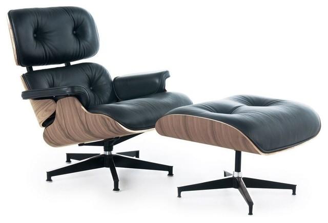 Mid-Century Lounge Chair With Ottoman, Black Leather, Walnut Veneer