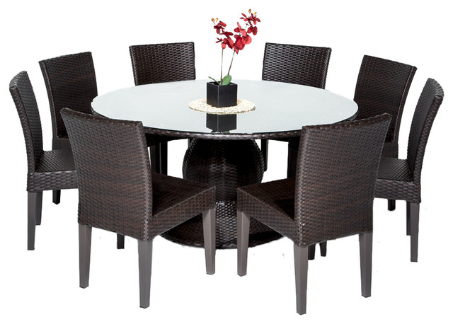 "Pluto 60"" Outdoor Dining Table With Chairs, 9-Piece Set, Without Cushions."