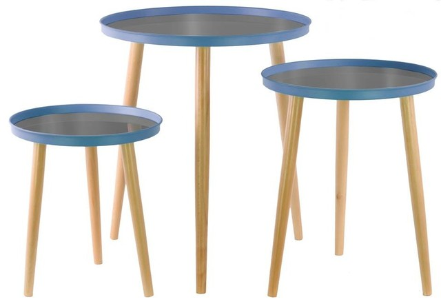 Urban Trends Collection 3 Piece Round Nesting Tables With