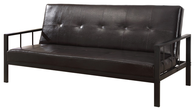 Sutton Vinyl And Metal Frame Adjule Sleeper Sofa Futon Black