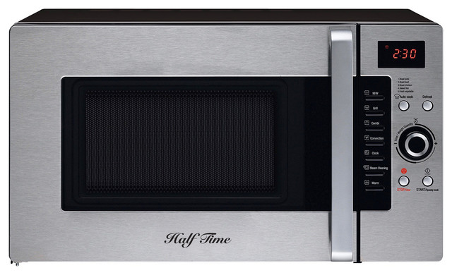 Half Time Convection Microwave Oven Countertop Stainless Steel Black
