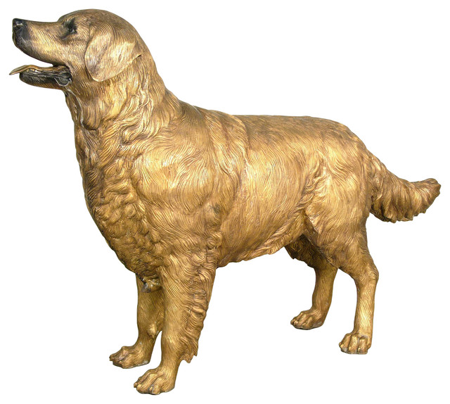 Golden Retriever Bronze Sculpture Contemporary Garden Statues And Yard Art