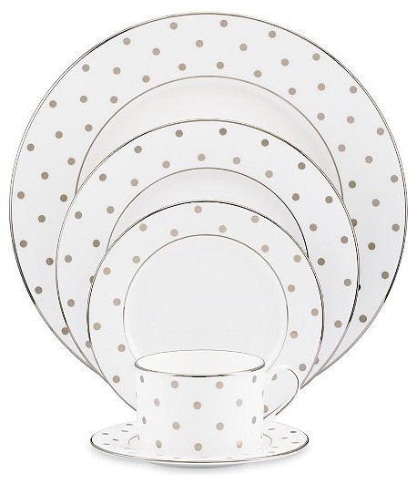 Kate Spade Polka Dot 5pc Place Setting traditional-dinnerware-sets