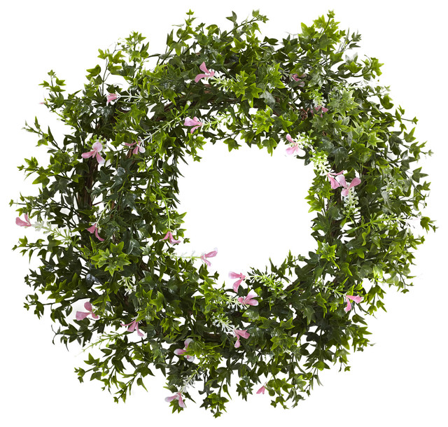 18 Mini Ivy And Floral Double Ring Wreath With Twig Base.