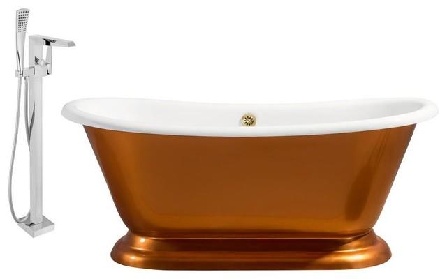 "Streamline 66"" Faucet And Cast Iron Tub Set, Showerhead H-100."
