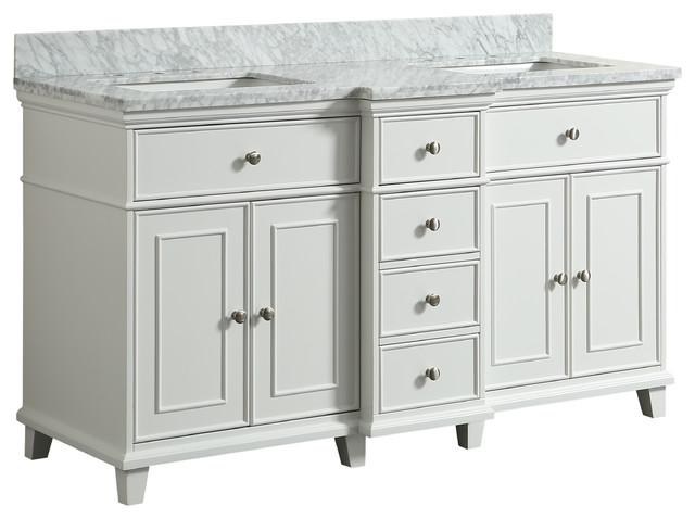 Loretta White Bathroom Vanity, 60&x27;&x27;.