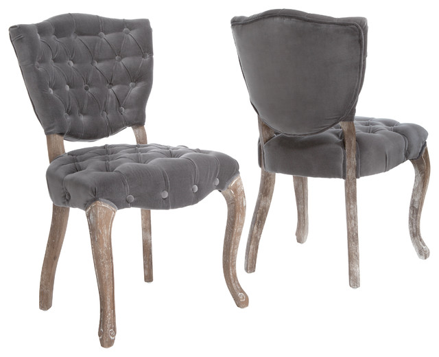 Amazing Violetta Dining Chairs, Set Of 2, Gray Transitional Dining Chairs