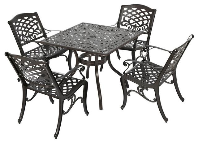 GDF Studio 5-Piece Odena Outdoor Cast Aluminum Square Bronze Dining Set