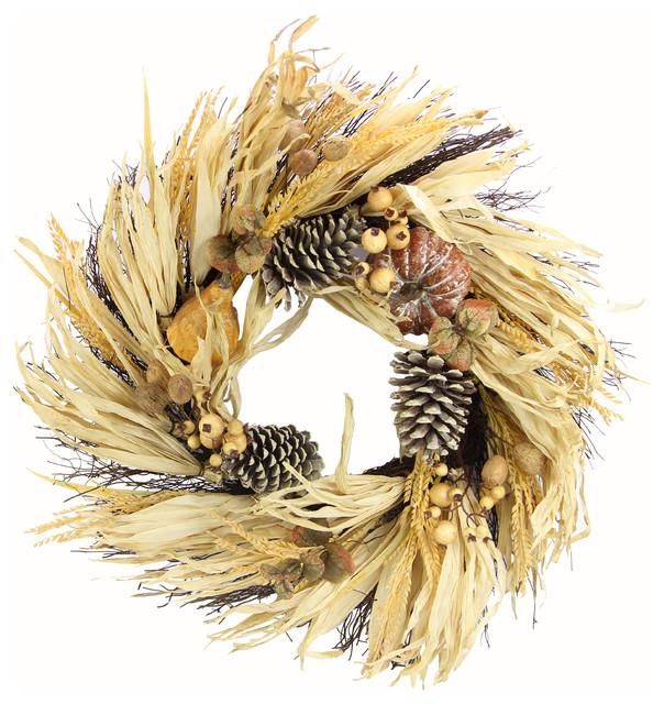 "24"" Artificial Pumpkin Wheat Berry With Corn Husk Wreath."