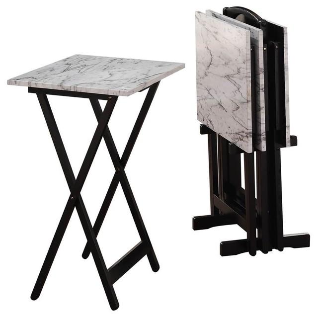 Contemporary Tray Tables Set 5 Piece Contemporary