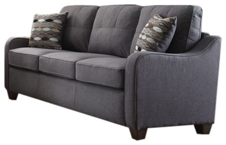 Acme Cleavon Ii Sofa With 2 Pillows, Gray Linen.