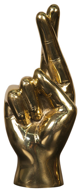 Fingers Crossed Hand Brass Sculpture