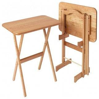 Large Rectangular Cherry TV Tray Table, Set of 2, Natural Cherry
