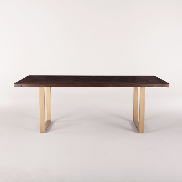 84 Dining Table Reclaimed Neem Wood Iron Dark Walnut Antique Gold Finish Contemporary Tables By World Bazaar Outlet