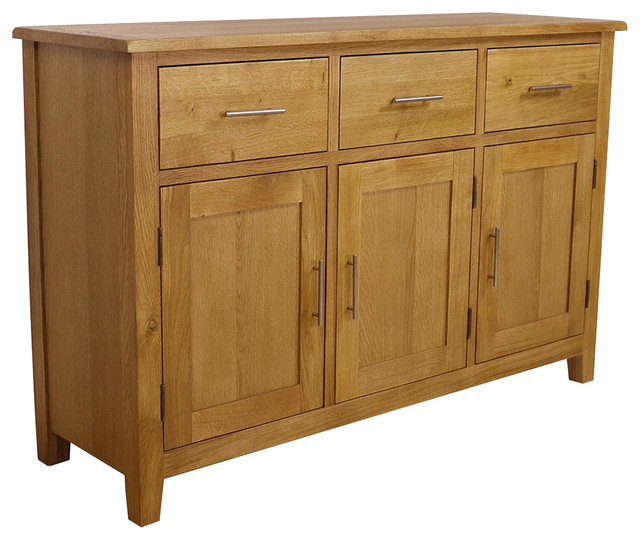 Contemporary Large Sideboard, Oak Finished Wood With 3-Door 3-Storage Drawer