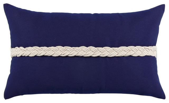 Elaine Smith Elaine Smith Braided Lumbar Pillow Navy