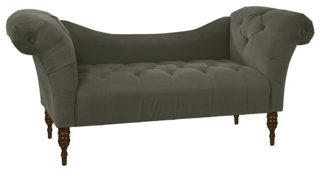 Skyline Furniture Tufted Chaise, Velvet Pewter Indoor Chaise Lounge Chairs