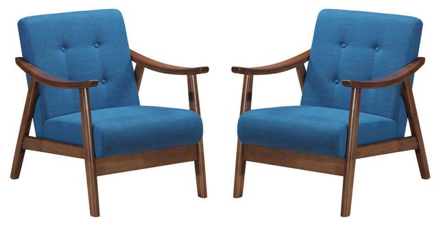 GDF Studio Aurora Mid-Century Modern Accent Chairs, Navy Blue/Brown, Set of 2