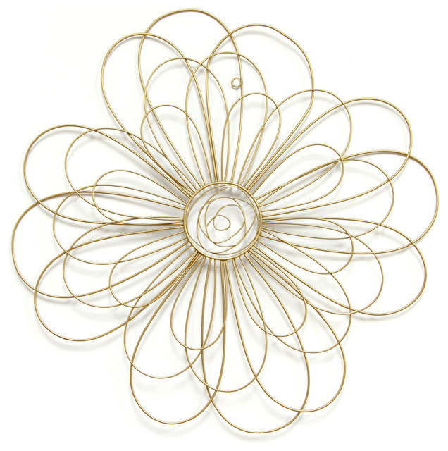 Gold Metal Wall Decor stratton home decor gold wire flower wall decor - contemporary