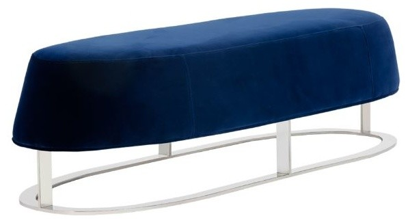 Oval Shaped Bench With Polished Stainless Steel Base.