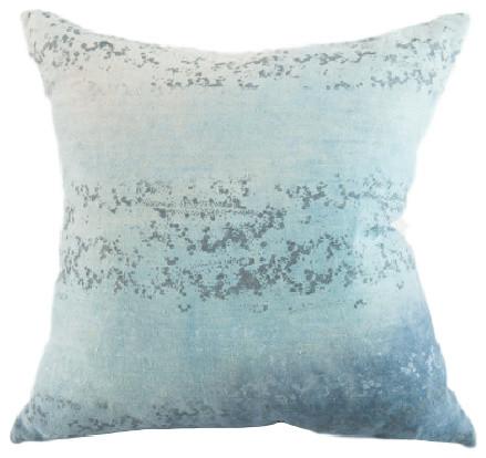 "Sequins Ocean Hand-Printed Linen Pillow, 16""x26"", Case With Insert."