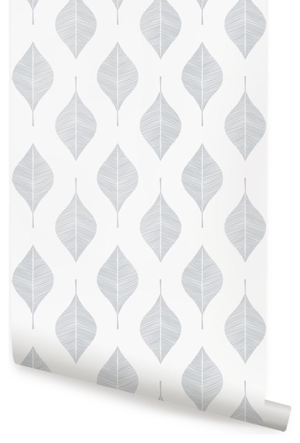 """Line Leaves Wallpaper, Peel And Stick, Cool Gray, 24""""x108""""."""