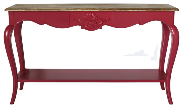 French console table in deep pink eclectic console for 12 deep console table