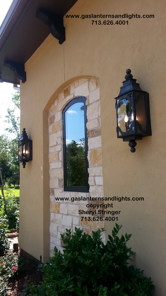 Sheryl's Electric Santa Barbara  Lanterns with Dark Patina Finish