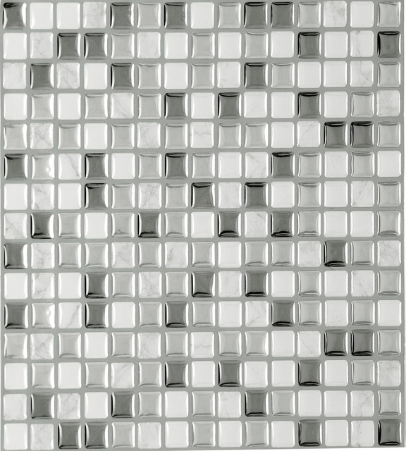 "9.13""x9.13"" Magic Gel Silver Glass Adhesive Vinyl Wall Tiles, Set Of 3."