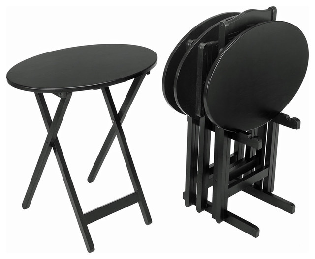 5 Piece Oval Tray Table Set Black