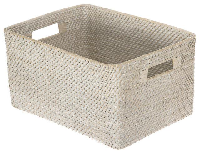 Laguna Rectangular Rattan Storage Basket, White Wash