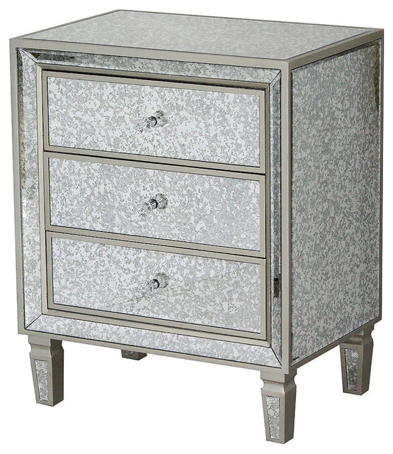Eleganza 3-Drawer Antiqued Mirror Accent Cabinet, W192114-Ch.