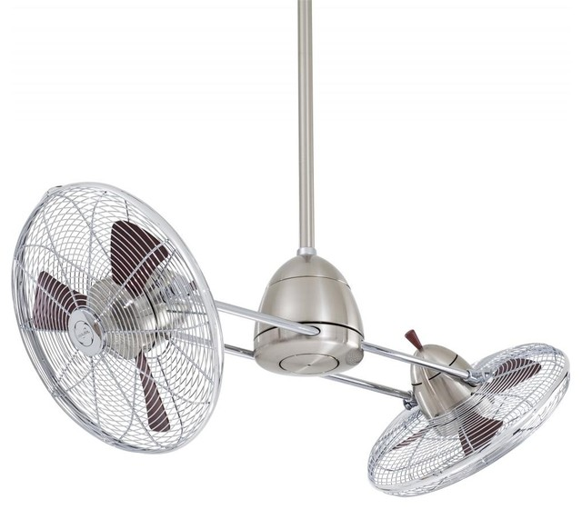 Minka-Aire Gyro Ceiling Fan, Brushed Nickel With Chrome.