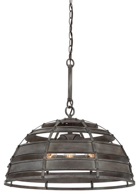Malden 3-Light Pendants, Raw Steel.